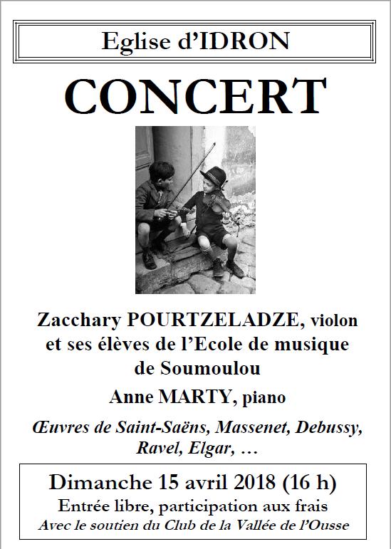 concert à Idron (64) le 15 avril avec Zacchary Pourtzeladze et Anne Marty