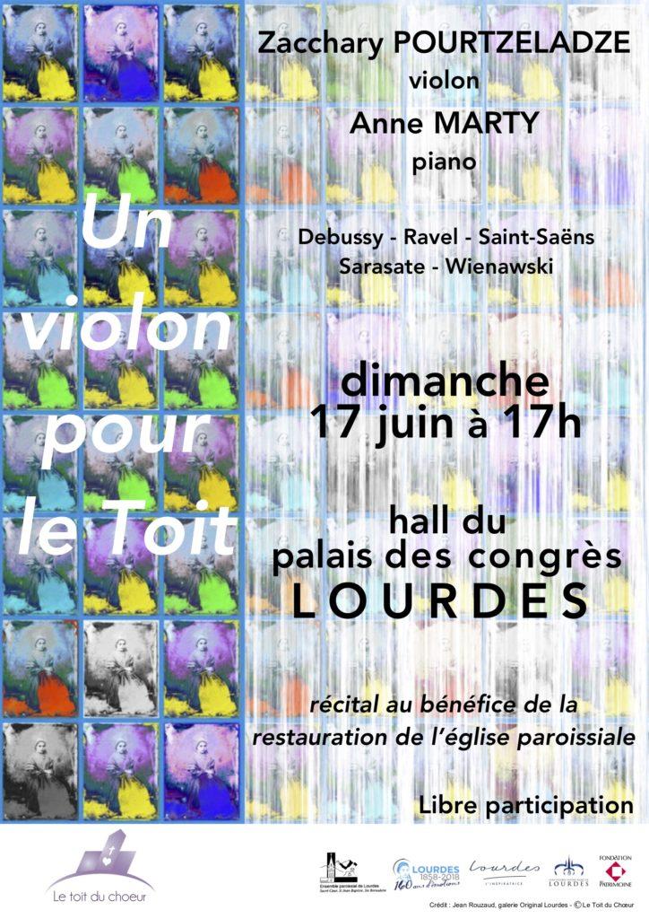 Concert à Lourdes de Zacchary Pourtzeladze et Anne Marty pour l'association le Toit du Choeur